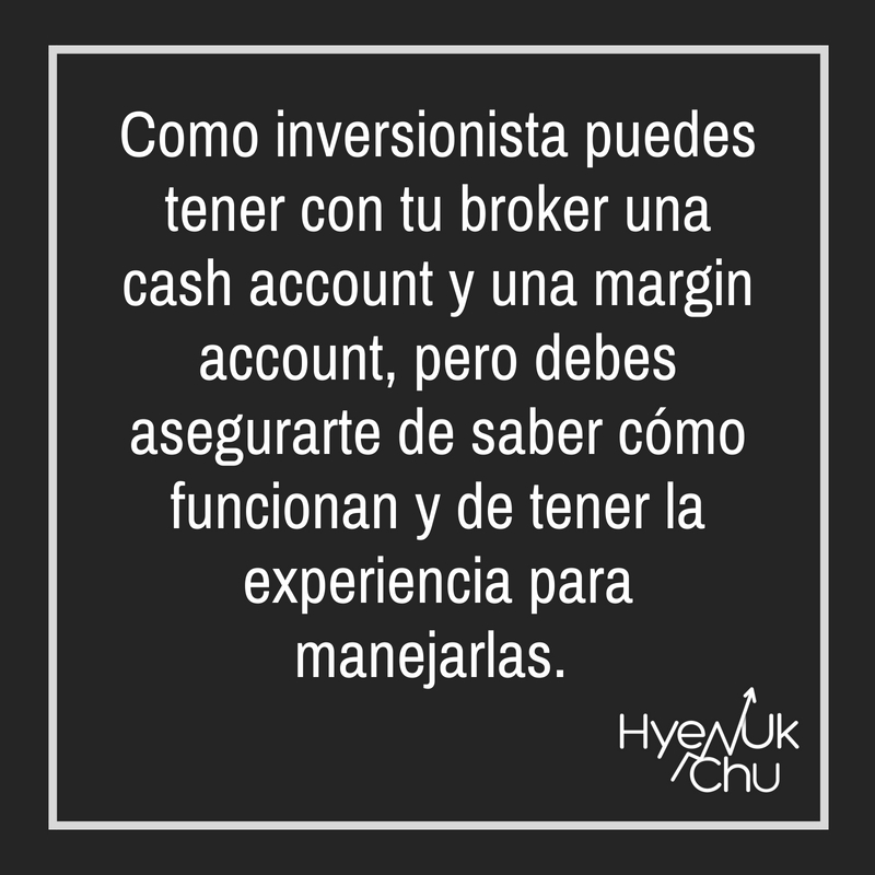 Elige entre la cash account y la margin account.