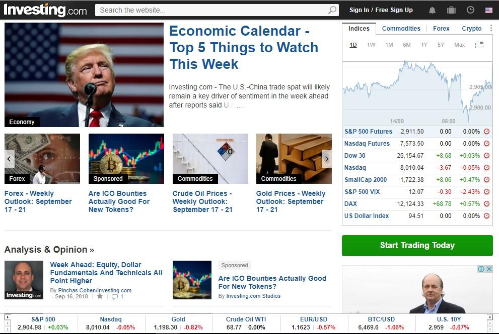 Investing es uno de los websites para inversionistas.