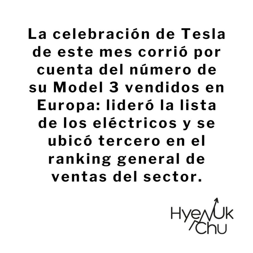 Dato sobre el Tesla Model 3 - Hyenuk Chu