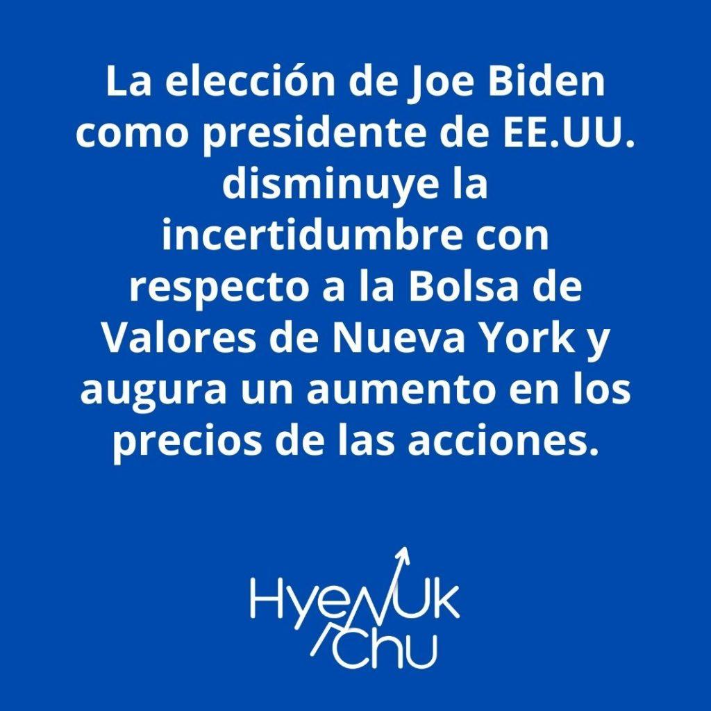 Biden Es El Presidente Electo de Estados Unidos y esto pasará con la Bolsa de Valores – Hyenuk Chu