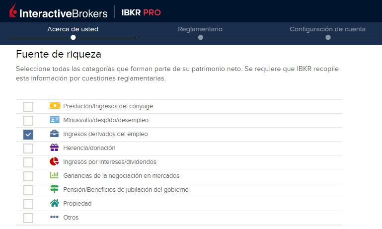 Decir de dónde viene tu dinero es clave, si te preguntas cómo abrir una cuenta en InteractiveBrokers