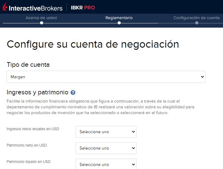 Dar datos sobre tu patrimonio es clave en el proceso sobre cómo abrir una cuenta en InteractiveBrokers