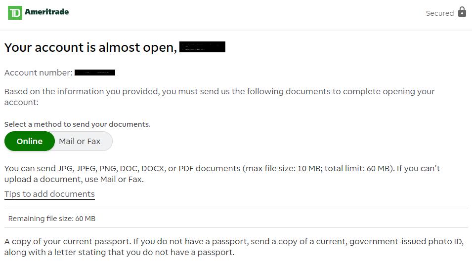 Documentos necesarios para saber cómo abrir una cuenta en TD Ameritrade
