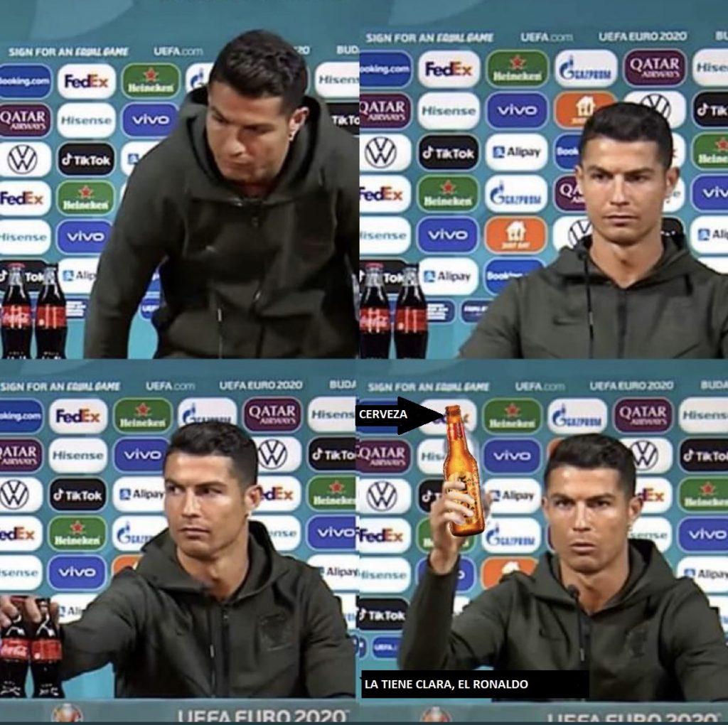 Meme sobre Coca Cola y Cristiano Ronaldo
