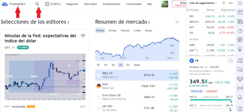 ¿Cómo buscar los gráficos en TradingView?